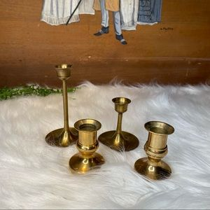 Set of 4 Brass Mixed Size Taper Candle Holders